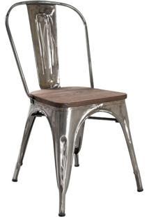 Cadeira Iron Tolix Com Assento Madeira - Rústica