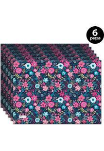 Jogo Americano Mdecore Floral 40X28 Cm Azul Marinho 6Pçs