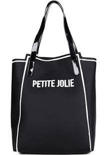 Bolsa Petite Jolie Shopper Verniz Estampada Gih Ruberp Feminina - Feminino-Preto