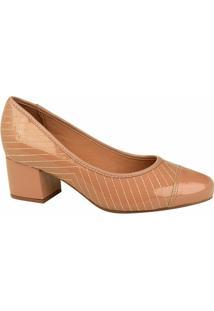 Scarpin Vizzano Salto Baixo Costuras - Feminino-Rose Gold