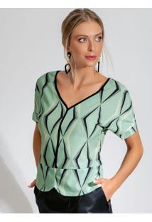 Blusa Manga Curta Com Estampa Verde