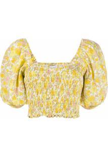 Faithfull The Brand Blusa Com Elástico E Estampa Floral - Amarelo
