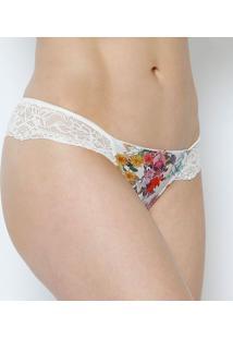 184d26fad ... Calcinha Fio Dental Floral Com Renda- Rosa   Off White