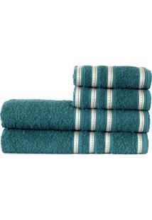 Jogo De Banho Atlântica Banhão Bem Estar 4 Peças Imensidão Azul