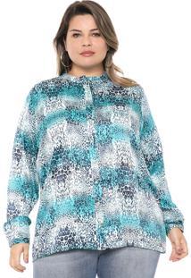Camisa Gris Plus Animal Print Azul