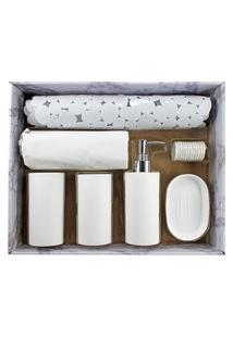 Kit De Banheiro Completo Jacki Design 6 Peças Branco Cozy
