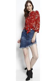Camisa Com Pregas- Vermelha & Laranja- Intensintens