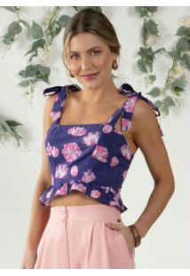 Blusa Floral Rosa Alças Com Laço