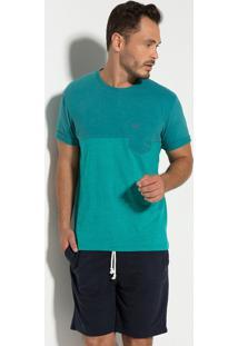 Camiseta Seeder Meia Malha Com Bolso Verde