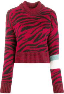 Brognano Suéter Gola Alta Animal Print - Vermelho