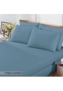 Jogo De Cama Em Malha Basic Queen Size- Azul- 3Pçsbuettner