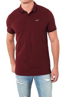 Camiseta Polo Hollister Clássica Vinho
