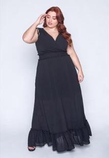 Vestido Longo Plus Size Lastex Feminino - Feminino-Preto