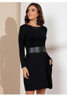 Vestido Com Mangas Longas E Bolsos Preto