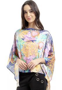 Blusa Estampado 101 Resort Wear Poncho Ombro A Ombro Cetim Jardim Rosa