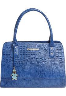 Bolsa Em Couro Com Tag- Azul- 25X35X11Cm- Di Mardi Marlys