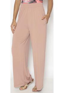 Calça Pantalona Com Bolsos - Rosa Claro - Patrapatra