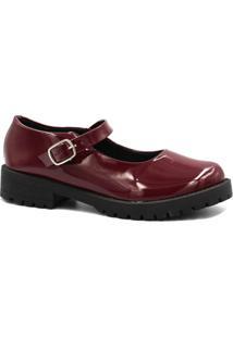 Sapatilha Zariff Shoes Boneca Verniz Feminina - Feminino-Bordô