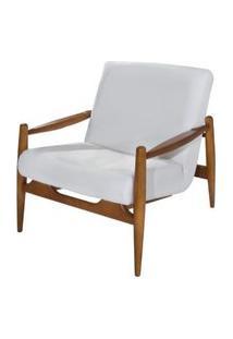 Poltrona Hand Assento Branco Base Madeira Amendoa - 62107 62107