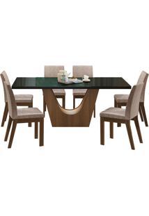 Sala De Jantar Madesa Alice Mesa Tampo De Vidro Com 6 Cadeiras