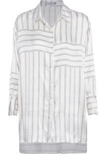 Camisa Feminina Recortes Costas - Off White