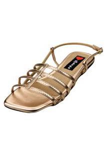 Sandalia Bico Quadrado Love Shoes Salomé Tirinhas Metalizadas Bronze