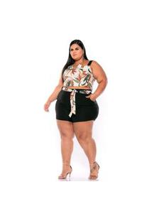 Conjunto Summer Body Plus Size Short E Cropped Bege Floral