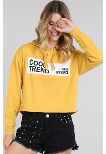 """Blusão Feminino Em Moletom Cropped """"Cool Trend"""" Com Capuz Amarelo"""