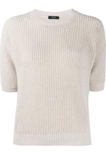 Peserico Suéter De Tricô Com Aplicação - Neutro