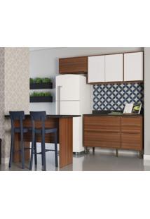 Cozinha Completa 5 Módulos 6 Portas E Rodapés Calábria Siena Móveis Nogueira/Branco