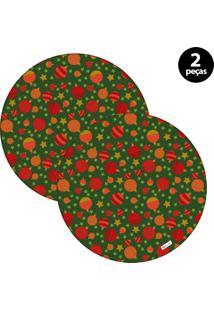 Capa Para Sousplat Mdecore Natal Bolas De Natal Verde 2Pçs