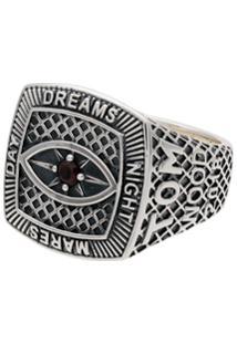 Tom Wood Sterling Silver And Garnet Champion Red Eye Ring - Prateado