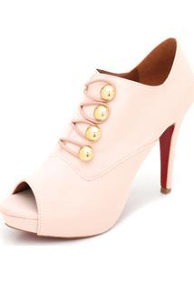 Open Boot Dafiti Shoes Botões Rosa