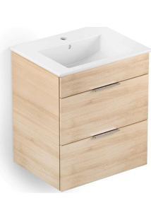 Gabinete Integrado Em Mdf Para Banheiro Com Lavatório Cube 45X43Cm Com 2 Gavetas Carvalho