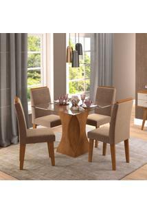 Conjunto De Mesa De Jantar Andreia Com 4 Cadeiras Taís Suede Savana E Pluma