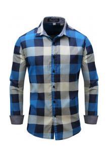 Camisa Masculina Xadrez Manga Longa - Azul