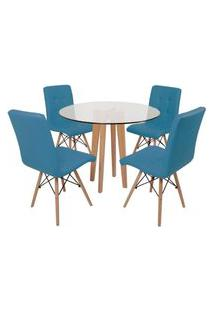 Conjunto Mesa De Jantar Em Vidro 90Cm Com Base Vértice + 4 Cadeiras Gomos - Turquesa