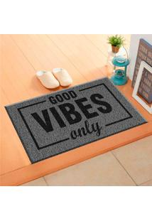 Capacho De Vinil Good Vibes Only Cinza