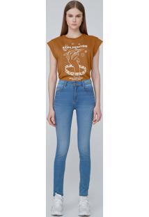 Calça Jeans Super Skinny Cintura Alta - Azul Médio