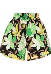 Fendi Bermuda Cintura Alta Com Estampa Floral - Preto