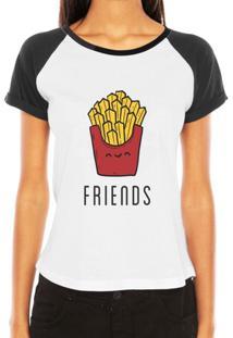 Camiseta Criativa Urbana Raglan Melhores Amigas Friends Frases Batata - Feminino
