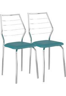 Cadeira 1716 02 Unidades Turquesa/Cromada Carraro