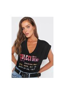 Camiseta Colcci Lettering Glitter Preta