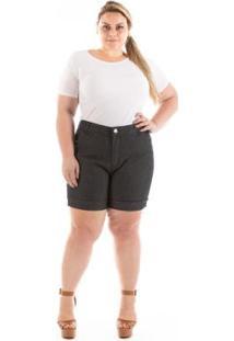 Shorts Jeans Confidencial Extra Casual Puebla Plus Size Feminino - Feminino-Preto