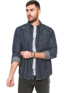 Camisa Jeans John John Regular Fit Destroyed Azul
