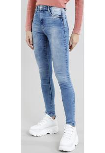 Calça Jeans Feminina Sawary Super Lipo Super Skinny Azul Médio