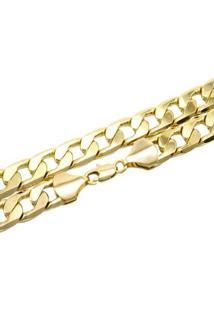 Corrente Grumet Com 12Mm Tudo Jóias Folheada A Ouro 18K - Masculino-Dourado