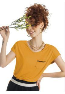 Blusa Em Malha De Viscose Com Aviamento Amarelo