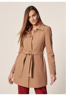 Mob Trench Coat Alfaiataria Feminino - Feminino-Caramelo