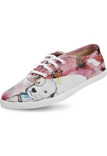 Tênis Usthemp Amy Vegano Casual Art Dog And Flowers Branco